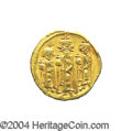 Ancients:Byzantine, Ancients: Heraclius. A.D. 610-641. AV solidus (20 mm, 4.38 g).Constantinople, A.D. 635/6(?). Heraclius between HeracliusConstantine,...