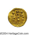 Ancients:Byzantine, Ancients: Heraclius. A.D. 610-641. AV solidus (20 mm, 4.44 g).Constantinople, A.D. 636/7(?). Heraclius between HeracliusConstantine,...