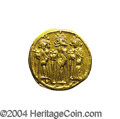 Ancients:Byzantine, Ancients: Heraclius. A.D. 610-641. AV solidus (18 mm, 4.36 g).Constantinople, A.D. 639(?)-641. Heraclius between HeracliusConstantin...