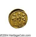 Ancients:Byzantine, Ancients: Heraclius. A.D. 610-641. AV solidus (19 mm, 4.41 g).Constantinople, A.D. 639(?)-641. Heraclius between HeracliusConstantin...