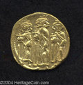 Ancients:Byzantine, Ancients: Heraclius. A.D. 610-641. AV solidus (18 mm, 4.22 g).Constantinople, A.D. 639(?)-641. Heraclius between HeracliusConstantin...