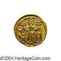 Ancients:Byzantine, Ancients: Heraclius. A.D. 610-641. AV solidus (19 mm, 4.43 g).Constantinople, A.D. 639(?)-641. Heraclius between HeracliusConstantin...