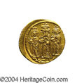 Ancients:Byzantine, Ancients: Heraclius. A.D. 610-641. AV solidus (20 mm, 4.42 g).Constantinople, A.D. 639(?)-641. Heraclius between HeracliusConstantin...