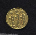 Ancients:Byzantine, Ancients: Heraclius. A.D. 610-641. AV solidus (19 mm, 4.32 g).Constantinople, A.D. 639(?)-641. Heraclius between HeracliusConstantin...