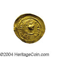 Ancients:Byzantine, Ancients: Heraclius. A.D. 610-641. AV semissis (19 mm, 2.20 g).Constantinople. Diademed, draped and cuirassed bust right / Crosspote...