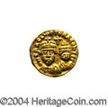 Ancients:Byzantine, Ancients: Heraclius. A.D. 610-641. AV solidus (14 mm, 4.46 g).Carthage, uncertain indiction. Crowned facing busts of Heracliusand He...
