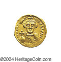 Ancients:Byzantine, Ancients: Constans II. A.D. 641-668. AV solidus (19 mm, 4.37 g).Constantinople, A.D. 641-646. Crowned facing bust, holding globuscru...