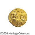 Ancients:Byzantine, Ancients: Constans II. A.D. 641-668. AV solidus (19 mm, 4.47 g).Constantinople, A.D. 654-659. Crowned facing busts of Constans andCo...