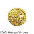 Ancients:Byzantine, Ancients: Constans II. A.D. 641-668. AV solidus (20 mm, 4.44 g).Constantinople, A.D. 654-659. Crowned facing busts of Constans andCo...