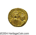 Ancients:Byzantine, Ancients: Constans II. A.D. 641-668. AV solidus (21 mm, 4.37 g).Constantinople, A.D. 654-659. Crowned facing busts of Constans andCo...