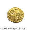 Ancients:Byzantine, Ancients: Constans II. A.D. 641-668. AV solidus (19 mm, 4.35 g).Constantinople, A.D. 654-659. Crowned facing busts of Constans andCo...