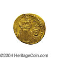 Ancients:Byzantine, Ancients: Constans II. A.D. 641-668. AV solidus (20 mm, 4.49 g).Constantinople, A.D. 654-659. Crowned facing busts of Constans andCo...