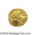 Ancients:Byzantine, Ancients: Constans II. A.D. 641-668. AV solidus (19 mm, 4.33 g).Constantinople, A.D. 654-659. Crowned facing busts of Constans andCo...