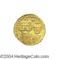 Ancients:Byzantine, Ancients: Constans II. A.D. 641-668. AV solidus (20 mm, 4.46 g).Constantinople, A.D. 654-659. Crowned facing busts of Constans andCo...