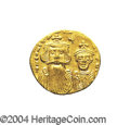 Ancients:Byzantine, Ancients: Constans II. A.D. 641-668. AV solidus (20 mm, 4.43 g).Constantinople, A.D. 654-659. Crowned facing busts of Constans andCo...
