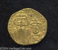 Ancients:Byzantine, Ancients: Constans II. A.D. 641-668. AV solidus (19 mm, 4.29 g).Constantinople, A.D. 654-659. Crowned facing busts of Constans andCo...