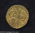 Ancients:Byzantine, Ancients: Constans II. A.D. 641-668. AV solidus (19 mm, 4.28 g).Constantinople, A.D. 654-659. Crowned facing busts of Constans andCo...