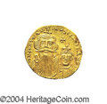 Ancients:Byzantine, Ancients: Constans II. A.D. 641-668. AV solidus (19 mm, 4.44 g).Constantinople, A.D. 654-659. Crowned facing busts of Constans andCo...