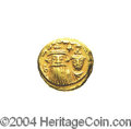Ancients:Byzantine, Ancients: Constans II. A.D. 641-668. AV solidus (12 mm, 4.34 g).Carthage, A.D. 658/9. Crowned facing busts of Constans, holdingglobu...