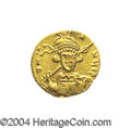 Ancients:Byzantine, Ancients: Constantine IV. A.D. 668-685. AV solidus (19 mm, 4.44 g).Constantinople, A.D. 674-681. Helmeted and cuirassed bust facings...