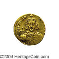 Ancients:Byzantine, Ancients: Justinian II. First Reign, A.D. 685-695. AV solidus (19mm, 4.46 g). Constantinople, A.D. 685/6. Crowned facing bust,holdin...