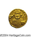 Ancients:Byzantine, Ancients: Leontius. A.D. 695-698. AV solidus (19 mm, 4.36 g).Constantinople. Crowned facing bust, holding akakia and globuscruciger ...