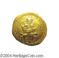 Ancients:Byzantine, Ancients: Isaac I. 1057-1059. AV histamenon nomisma (24 mm, 4.28g). Constantinople. Christ enthroned facing, raising right hand inbe...