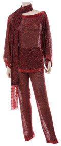 Movie/TV Memorabilia, Liza Minnelli sheer black with red geometric beading pantsuit ensemble and long beaded scarf by Halston....