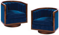 Movie/TV Memorabilia, Blue velvet (2) round chairs from the interior of the Capitol train in The Hunger Games....