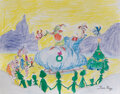 Movie/TV Memorabilia, Tom Ray original drawing with The Grinch, Max and Whoville from How the Grinch Stole Christmas!...