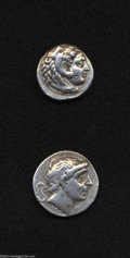 Ancients:Greek, Ancients: Lot of two tetradrachms of Hellenistic kings. Includes:Macedonian Kingdom. Alexander III. Nice VF, banker's mark on cheek/... (Total: 2 coins Item)