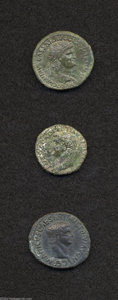 Ancients:Roman, Ancients: Lot of three Julio-Claudius bronzes. Includes:Germanicus. Issued under Claudius. VF, fields smoothed // Drusus.Restitution... (Total: 3 coins Item)