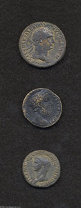 Ancients:Roman, Ancients: Lot of three miscellaneous Roman bronzes. Includes:Claudius. As. Constantia. VF // Trajan. Sestertius. Pax. VF,corrosion /... (Total: 3 coins Item)