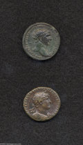 Ancients:Roman, Ancients: Lot of two middle bronzes. Includes: Trajan. Dupondius.Emperor on horseback. Good VF/VF, green patina // Hadrian. As.Pieta... (Total: 2 coins Item)