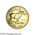 Afghanistan: , Afghanistan: Republic. Gold 10,000 Afghanis 1978, KM982, choice Proof. Marco Polo sheep. Only 181 pieces minted in Proof and 875 includin...