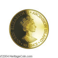 Ascension: , Ascension: Elizabeth II gold 50 Pence 2000, KM12b, Proof 69 UltraCameo NGC, the 50 Pence struck in gold for the 100th birthday ofthe ...