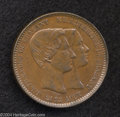 Belgium: , Belgium: Marriage 10 Centimes 1853, KM5, Choice brown UNC....