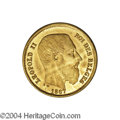 Belgium: , Belgium: Leopold II gilt pattern 10 francs 1867, Bust right/Crownedand mantled arms, type of Dup-1054, 3.47 gm, Proof with somestai...