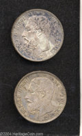 Belgium: , Belgium: Lot of 2 Coins, KM24 5 Francs 1867 Dot after F, VF and1872 VF. ... (Total: 2 coins Item)