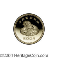 China: Peoples Republic gold Proof Set 1981, Y28-31, 200, 200, 400 and 800 Yuan with leopard, winged creature, rhinocero...