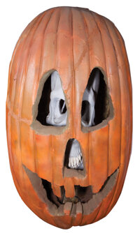Large Jack-o-Lantern with a skull inside featured in the Halloween II trailer