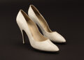 """Movie/TV Memorabilia, Marilyn Monroe """"Ellen Arden"""" white leather Ferragamo pumps worn in her last and unfinished film Something's Got to Give...."""
