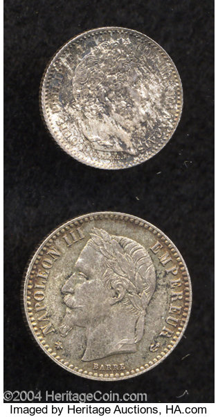 France: Lot of Two Silver Coins, KM755 1 1/4 Franc 1847-A