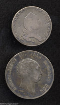 German States:Bavaria, German States: Bavaria. Lot of Two Silver Coins, KM257 1/2 Taler1796 VG and KM358.1 Taler 1814 nearly VF.... (Total: 2 coins Item)