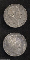 German States:Bavaria, German States: Bavaria. Lot of 2 Guldens 1855, KM465 Both VF toXF.... (Total: 2 coins Item)