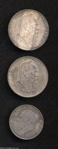 German States:Bavaria, German States: Bavaria. Lot of Three Silver Coins, KM519 2 Mark1914 nearly UNC, and KM517 3 Mark 1911 (2) AU and UNC.... (Total: 3coins Item)