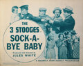 Movie Posters, The Three Stooges (2) lobby cards from Sock-A-Bye Baby. . ...