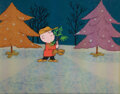 """Movie/TV Memorabilia, """"Charlie Brown"""" with Christmas Tree production cel from Charlie Brown's Christmas...."""