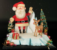 """Screen used """"Rudolph"""" and """"Santa"""" stop motion puppets from Rudolph the Red-Nosed Reindeer"""