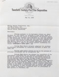 Movie/TV Memorabilia, Studio letter warning Marilyn Monroe of her breach of contract for taking off shooting days to participate in President Kenned...